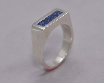 Modern Lapis Lazuli and Silver Ring Men, Men's Blue Lapis Lazuli and Sterling Silver Geometric Ring, Lapis Lazuli Inlay Ring Polished finish