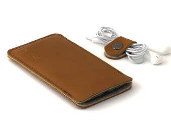 Leather OPPO Find X2 Neo case - and other models - Cognac color leather with brown wool felt lining - Available for all OPPO models