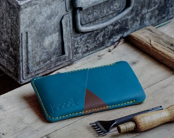 Full-grain leather OPPO Find X3 Pro pouch - Turquoise leather with two pockets voor cards - Wallet sleeve Available for all OPPO models