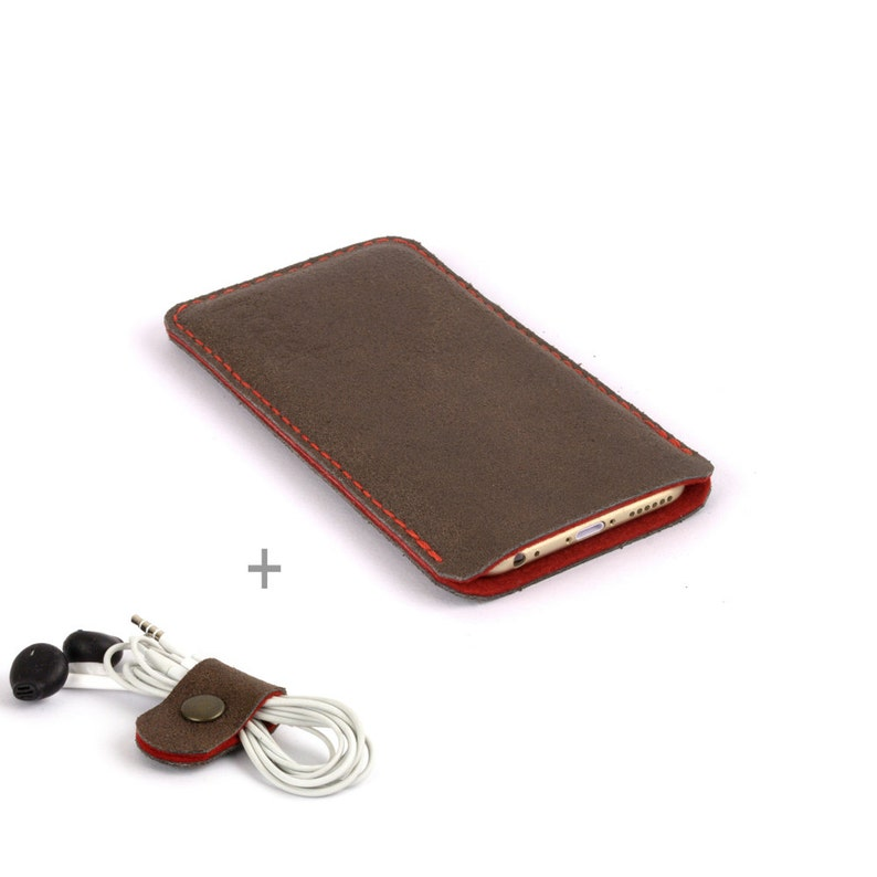 newest 39738 a039c iPhone Xs case, leather iPhone Xr sleeve, iPhone Xs Max pouch, brown  leather iPhone 8 case, red wool felt lining, protective sleeve