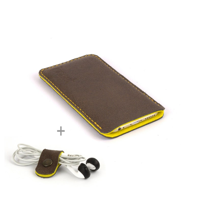 brand new e281c 14df4 Leather Samsung Galaxy S8 Plus case. Brown leather Yellow wool felt lining  Galaxy S8 case Galaxy S8+ leather sleeve Leather Galaxy S8.