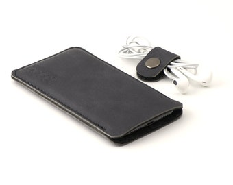 Leather OPPO Find X2 Neo pouch - and other models - anthracite/black leather with black wool felt - Available for all OPPO models