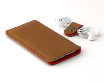 Leather OPPO Find X3 Pro pouch - and other models -Cognac color leather with red wool felt - Available for all OPPO models
