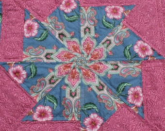 Pinwheel Quilt in Pink and Blue Paisleys