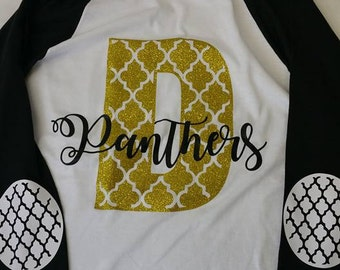 School Spirit Shirt with School Letter and Mascot Name