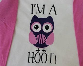 I'm A Hoot! Owl Monogrammed Raglan