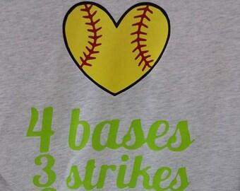 4 Bases, 3 Strikes, 2 Teams, 1 Winner Softball TShirt