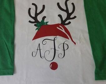 Monogrammed Reindeer and Antlers Shirt