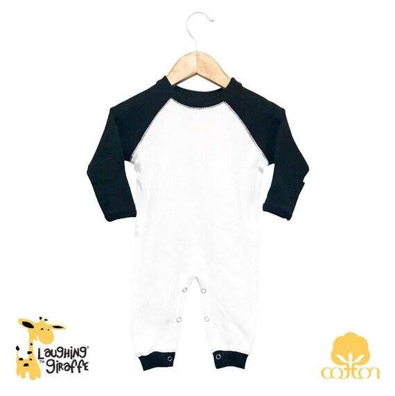 eebccea40ab Blank Baby Raglan Sleep N Play Long Sleeves White Black