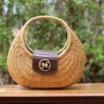 Large Vintage Carolee Wicker Handbag / Round Wicker Handbag / Woven Handbag with Gold Snakes / Carolee Handbag / Large Wicker Bag / Boho Bag