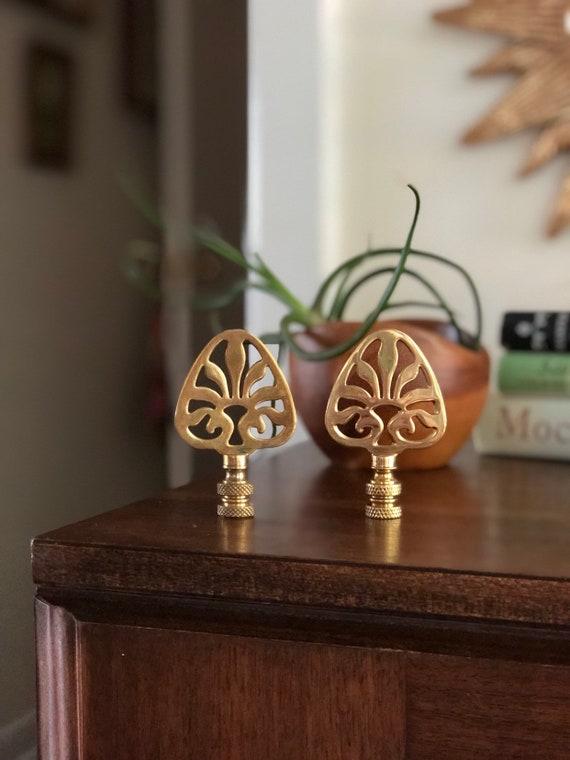 Pair Of Large Decorative Brass Lamp Finials Brass Filagree Finials Large Finials Brass Finials