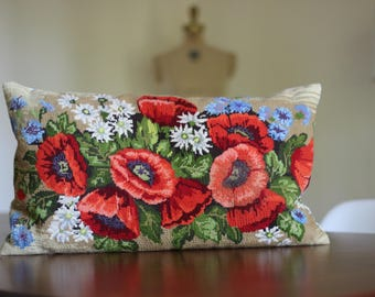 Large Vintage Poppy Needlepoint Pillow / Needlepoint Poppy Pillow / Red Poppy Pillow / Large Floral Needlepoint pillow / Blue Floral Pillow