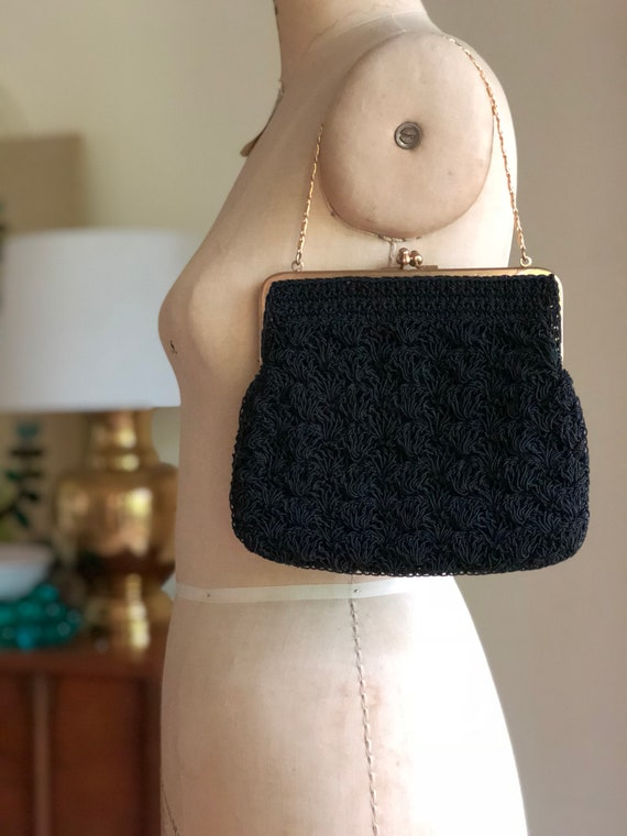 Vintage Black Beaded Evening Bag / Black Tiny Bead