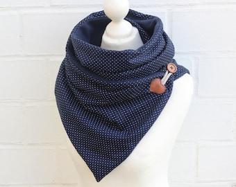 Wrap scarf dots Blue Fleece Winter cuddly