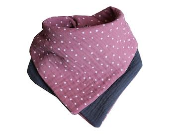 From 11.90 Euro neckerchief muslin dark old pink dots Dark grey Sabbertuch name