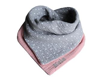 From 11,90 Euro Scarf Muslin Light Grey Dots Pink Drobertuch Name