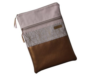 "Tablet Sleeve 10"" Canvas Powder Pink Copper Gold 2 Zipper"