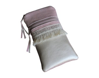 From 22.90 Euro Case Smartphone Cord Powder Pink Faux Leather Mother-of-Pearl Boho Borte