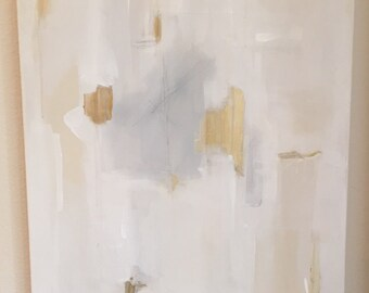 Original Abstract Painting- White, Beige, Grey, Gold