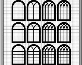 Gothic Window Half Round SVG Dxf Eps Pdf Png Svg Studio3 File Types Frame Die Cut Files Silhouette Cricut Instant Download