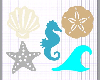 Beach Silhouette Collection SVG, (dxf, eps, pdf, png, svg, studio3 file types) Beach Die Cut Files, Silhouette, Cricut, Instant Download