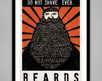 BEARDS - Signed Limited Edition Giclee Print Poster A4 & A3