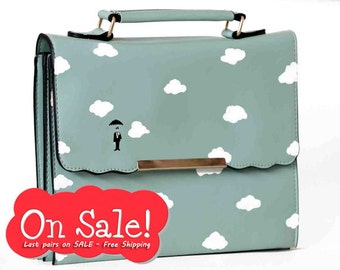 "Last bags ON SALE - Free Shipping!!! Slim Turquoise hand painted ""Sky"" bag for women - limited edition"