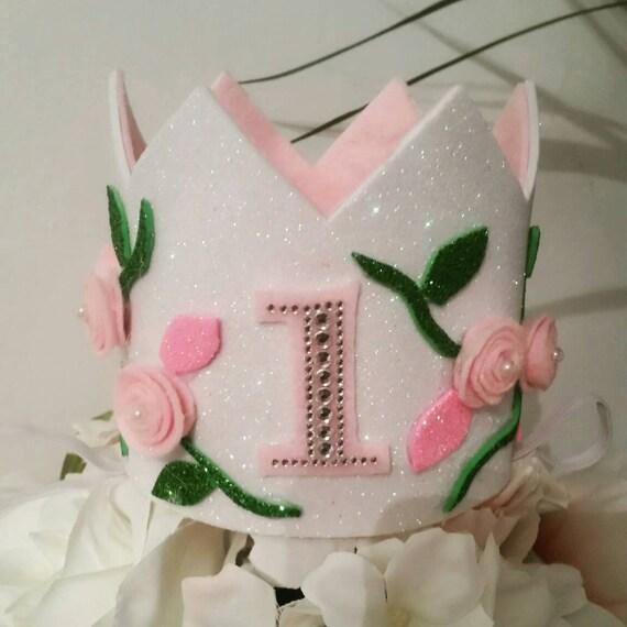First Birthday Felt Flower Crown. Glitter fun photoshoot hat  5fc9415a9f1