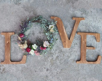 """Custom wooden letter / Wooden """"Love"""" sign / Initials and names / Wedding guest book table, sweet table, grooms' table decor"""