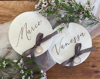 Hand painted wooden rings holders / Custom ring holders / Personalized with groom's names