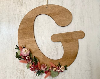 Custom wooden letter with flowers / Initials and names / Wedding guest book table, sweet table, grooms' table decor