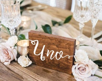 Wooden table number / Custom calligraphic rustic wood / Wedding table decor
