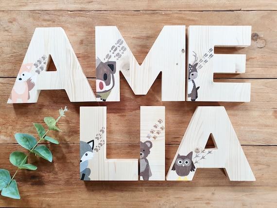 Lettere In Legno Chiaro Con Animali Dipinti A Mano Nome E Etsy