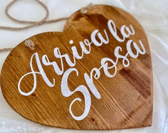 """Wooden """"Here comes the Bride"""" heart shaped sign / Ring bearer wood wedding sign / Custom calligraphic rustic wood wedding decor"""