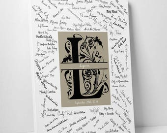 Modern Wedding Guest Book Alternative Initial Guestbook Etsy