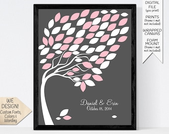 Small Wedding Guest Book Alternative, Custom Modern Guestbook Signature Tree for 65 Guests, Print or Printable