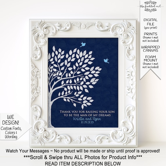 Mother of Groom Gift THANK YOU GIFT for Mother in law Custom Colors Parents of Groom Gift Personalized Gift For Mother of the Bride FRAME NOT INCLUDED**