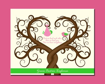 Baby Shower Thumbprint Tree, Baby Guestbook Alternative, Shower Gift for Baby Girl, Curly Limbed Thumbprint Tree, Baby Showe