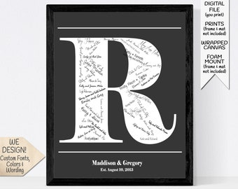Modern Wedding Guest Book Alternative, Monogram Guestbook, Custom Initial Signature Sign, Personalized Last Name and Established Date