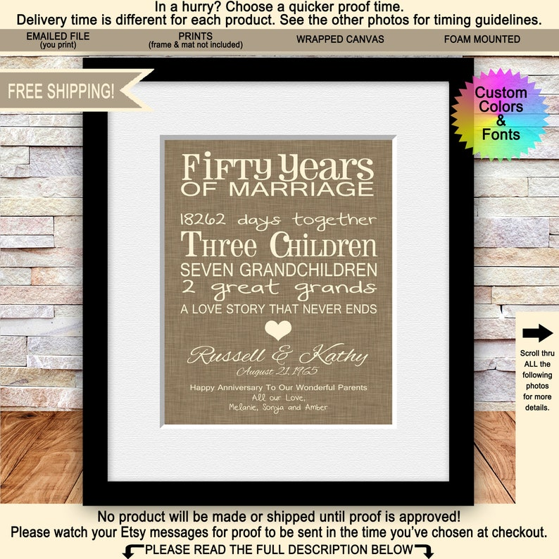 823e947294b0f 50th Anniversary Gifts for Parents Fun 50th Wedding