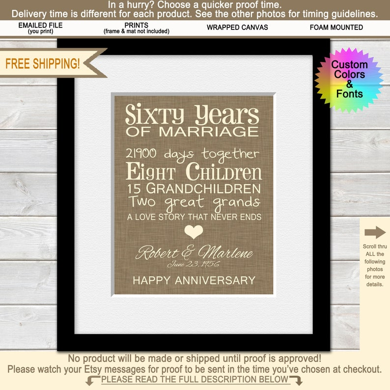60th Anniversary Gifts For Grandparents 60th Wedding Etsy