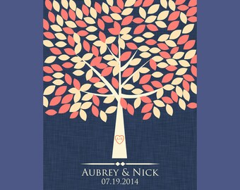 Signature Tree Alternative Guestbook, Wedding Guests Signature Tree, Signature Tree with 175 Leaves, Guest Book Signature Tree