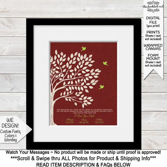 Christmas Gift For Dad.Dad Christmas Gift Fathers Day Gifts Dad S Christmas Present Thank You Gift For Dad Birthday Like Branches On A Tree Print Printable
