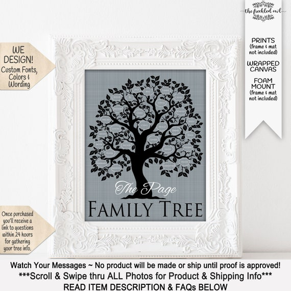 Family Tree Art Print  Personalized Family Wall Art Poster  Choose your Colors