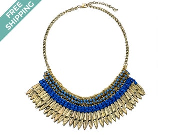 Bronze Leaf Costume Jewelry Necklace, with Dark Blue Rope & Light Blue Beads