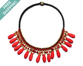 Red Stone Costume Jewelry Necklace with Gold Beads Threaded Throughout