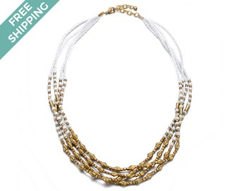 White and Gold Beaded & Layered, Costume Jewelry Necklace