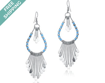 Baby Blue/ Turquoise & Silver Bead Earrings Featuring Silver Strands with Flattened Ends