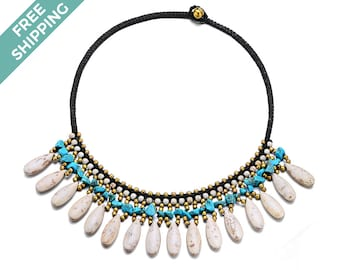 White & Blue Stone Costume Necklace with Gold Beads Threaded Throughout