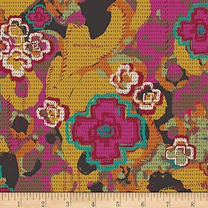 Art Gallery Teal Black Gray Gold Orange Orchid Floral Print Poppy Flowers on Stripes Cotton Fabric by the Half Yard Nature Boho Botanical